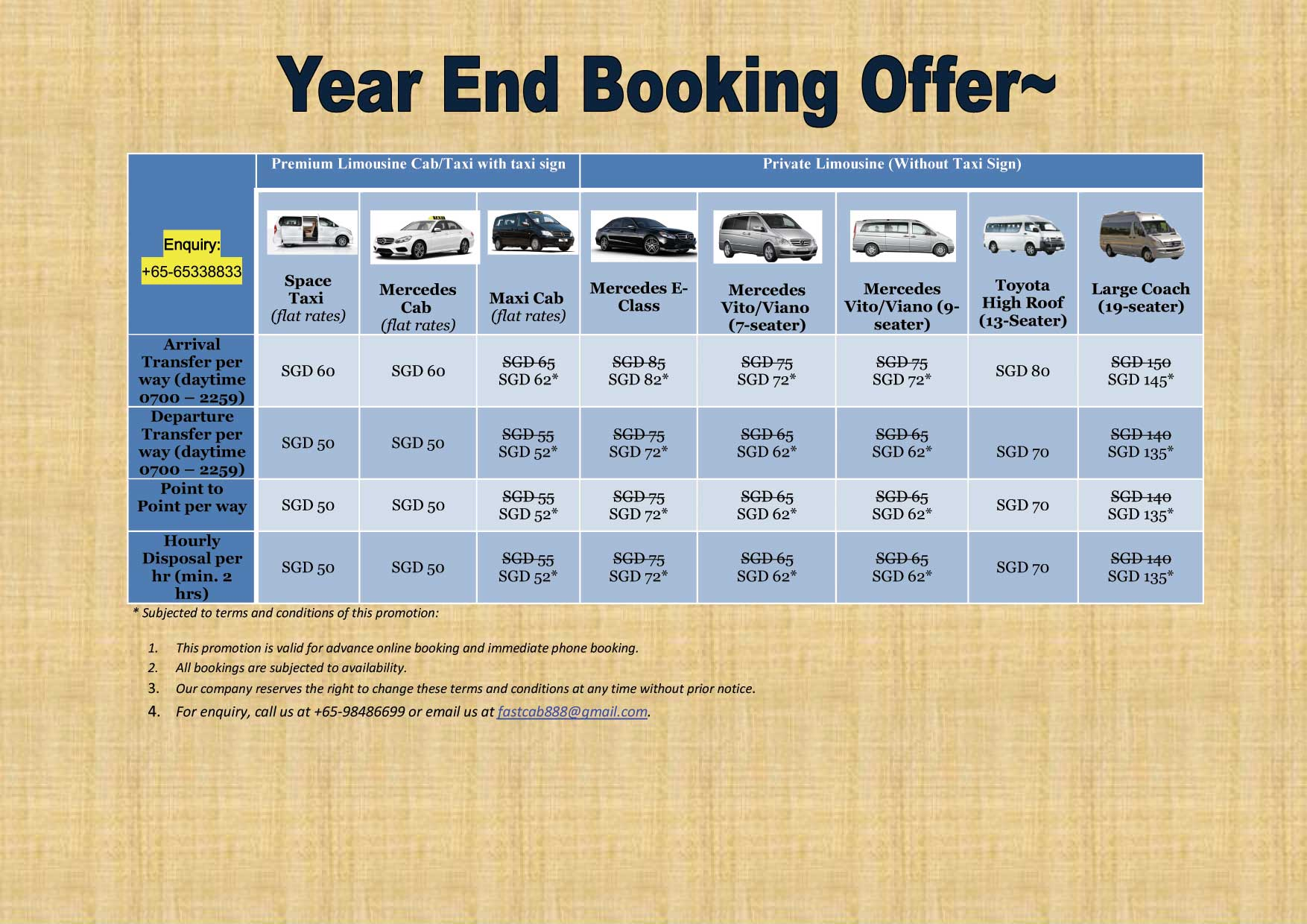 Taxi Singapore Booking Offer